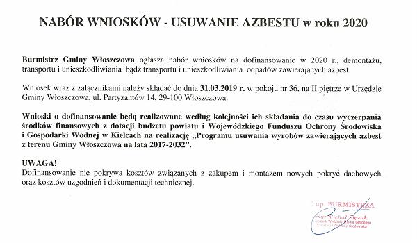 Nabór wniosków na usuwanie azbestu 2020